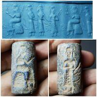 Sasanian amyzing old lapiz lazuli cylinderseal bead
