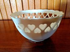 Heart Collection Lenox Bowl Ivory w/24K Gold Trim Pierced Hearts Embossed Rose