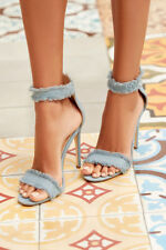 "new Womens Rip Blue Denim 4.5"" High Stiletto Heel peep Toe Sexy Shoes Size 7"
