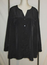 Lane Bryant 26 28 Tunic Shirt Black Button Front Silky Roll Tab Sleeves Pockets