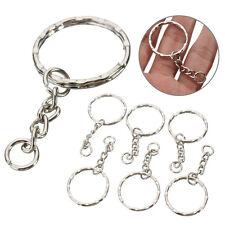 10er Schlüsselanhänger Rohlinge 55mm Silber Ton Spaltringe 4 Gliederkette#