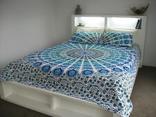 Mandala TapestryBedspread Light  Blue Peacock Feather Bohemian with pillow cases