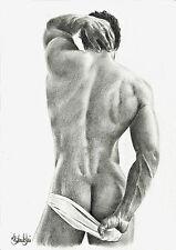 Nude male Study-GAY INTEREST-A4 impression de l'original dessin au crayon