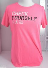 """Woman's Under Armour Pink T-Shirt """"Check Yourself"""" S/S Size Medium M"""