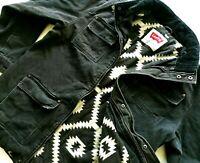 HOT Men LEVIS M65 PARKA BLANKET LINED Corduroy Collar CANVAS BLACK COAT JACKET L