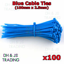 100 x Blue Cable Ties 2.5mm x 100mm Tie Wraps Zip Coloured Strong Quality Nylon