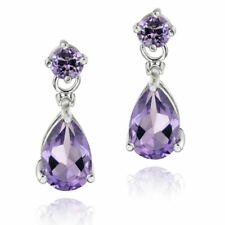 925 Silver 3ct Amethyst & Diamond Accent Teardrop Earrings