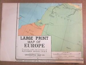 Vintage Map  Large Print   United States  Alexander Gross  Geographia   1940s