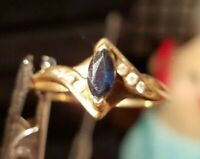 Vintage Victorian Ladies 10 kt yellow Gold saphire Ring 7 3/4