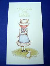 Vintage Holly Hobbie 3 Notecards A Bit Of News From Leslie Blank Inside Unused