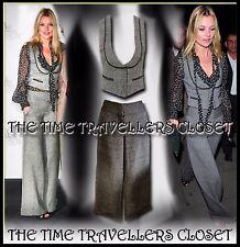 Kate Moss Topshop Grey Wool Tweed Thick Winter Trouser Waistcoat Suit 2 Set UK 8