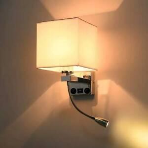 LED Wall Lights Sconce Indoor Bedroom Bedside Living Room Night Reading Lamp USB