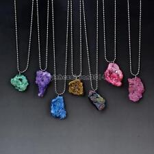 Natural Druzy Necklace Irregular Stone Pendant Platinum Color 23 Chain Necklace