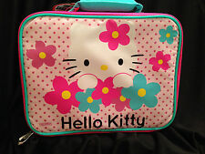 Hello Kitty Insulated Padded Lunch Box Bag Pink Flowers School Zipper Vinyl NWT