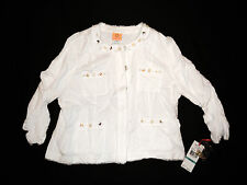 New With Tags Ruby Rd. White Beaded Snap Down Jacket Size 16!