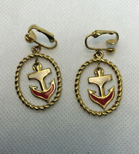 """Vintage Mid Century Red&White Enamel Anchor Clip Earings 1.25"""" Signed Avon Nice"""
