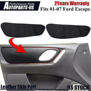 Fits 01-07 Ford Escape Front Door Panel Insert Leather Replacement Cover Black