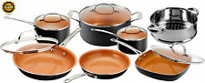 Gotham Steel Cookware Set Non Stick Pot and Pan Strainer w/ Lids 12 Piece