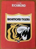 1991 AFL SCANLENS STIMOROL RICHMOND TIGERS LOGO CARD #111