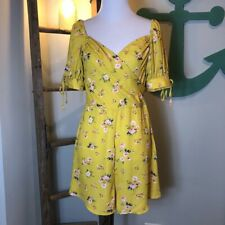 Ten Sixty Sherman Womens A Line Romper Yellow Floral Smocked Sweetheart M New