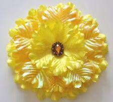 "Huge 7"" Bright Yellow Iridescent Peony Rhinestone Silk Flower BROOCH Pin"