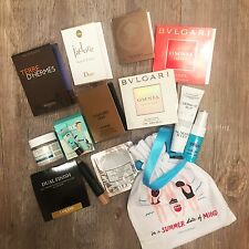 14pc skincare cosmetic fragrance sample lot in Sephora bag Hermes Benefit Sisley