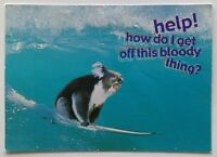 Help! How do I get off this bloody thing Koala Surfing 2004 Postcard (P288)