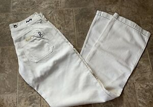 NEW Womens REPLAY DESIGNER Jeans 28x34 Seafarer/Alihart White Italy ButtonFly