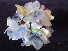 Millinery Flower Hydrangea Blue + Violet Velvet + Chiffon for Hat + Bride Y262