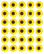 30 x Yellow Sunflowers Cupcake Toppers Edible Wafer Paper Fairy Cake Toppers