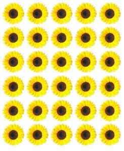 30 x Sunflowers Yellow Cupcake Toppers Edible Wafer Paper Fairy Cake Toppers