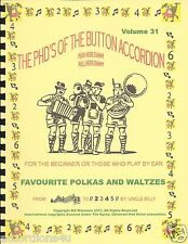 FAVOURITE POLKAS AND WALTZES, EASY PLAY/LEARN  BY NUMBER BUTTON ACCORDION BOOK