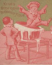 1880 KING'S SELF RAISING BUCK WHEAT FLOUR TRADE CARD, CLOWN/COOK IN LG BOWL A549