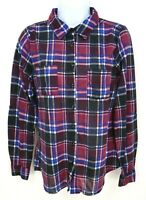 Rue 21 Flannel Shirt Womens Sz M Purple Blue Plaid Pocket Polyester Long Sleeve