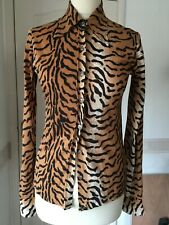Vintage 70s blouse shirt S tiger animal print fitted Bellino skinny fit retro re