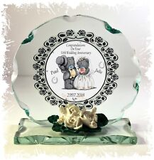 30th Pearl Wedding Anniversary gift personalised Crystal Cut glass round plaque