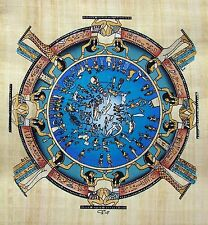 Egyptian Hand-painted Papyrus Artwork: Circular Zodiac Temple of Dendera SIGNED