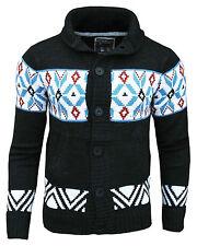 Fly Guy Men's Aztec Mason Shawl Neck Fashion Cardigan Jumper Charcoal/blue/red Large