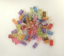 MULTI-COLOR ACRYLIC TUBE BEADS WITH HEART DESIGN - 3 PACKAGES
