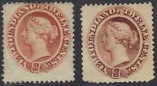 CANADA NEWFOUNDLAND 1865 12¢ QUEEN VICTORIA, RED BROWN & BROWN SG 28 BOTH HINGED