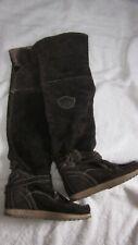 EL VAQUERO Dark Brown Lined Suede over-knee Wedge Moccasin Boots 37 US 6.5-7