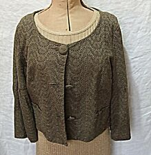 'M&S AUTOGRAPH' BROWN BRODERIE ANGLAISE CROPPED BOX JACKET 3/4 SLEEVES 12 CHIC