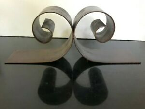 """Vintage Large Heavy Bookends Coiled Rolled Painted Steel 18"""" long"""