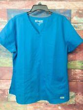 Grey's Anatomy Women's Bahama? Blue Classic Fit Two Pocket Scrub Top Size XL**