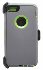 iPhone Full Protection Case Cover (Belt Clip Fits Otter box Defender) Gray Lime