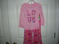 pants shirt Pink Peace Love toddler girls (size 2T,4T) SET   2 pc set    T15