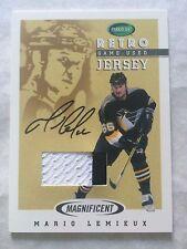 2002-03 Parkhurst Retro Game used jersey Auto Mario Lemieux #M1-1 RARE!! #11/15