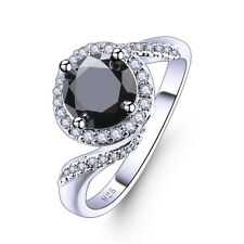 Women's Fashion BlacK Spinel & White Topaz Gemstone Silver Ring Size 6-13 Gifts