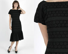 Vintage 50s Black Eyelet Dress Floral Embroidered Lace Wiggle Evening Midi Mini