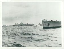 1945 WWII Bow of Battleship King George V at Right Original News Service Photo
